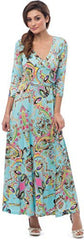 Turquoise Venetian Print Maxi Dress - PacificPlex