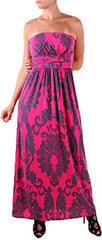 Damask Print Strapless Maxi Dress