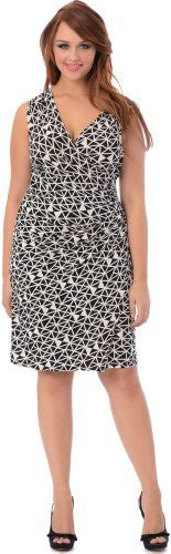 Geo Print Faux Wrap Dress