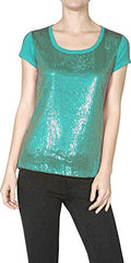 Sequin Short Sleeve Holiday Sparkle Shine Top - PacificPlex