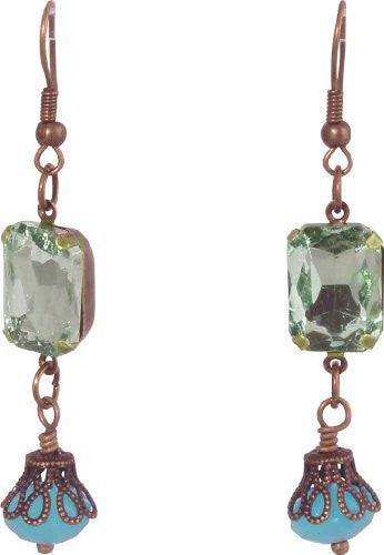 Antique Oxidized Gem Drop Earrings, Size: One-Size, Color: Aqua