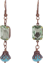 Antique Oxidized Gem Drop Earrings, Size: One-Size, Color: Aqua - PacificPlex