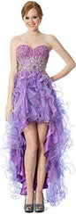 Organza Gem Hi-Low Ruffle Prom Dress Homecoming Gown