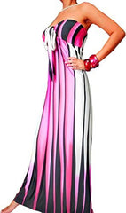 Graphic Stripe Maxi Tube Dress Halter or Strapless Sundress - PacificPlex - 8