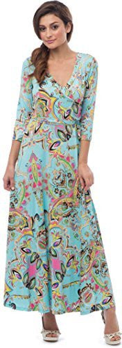 Turquoise Venetian Print Maxi Dress