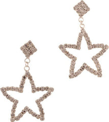 Crystal Star Dangle Post Earrings, Color: Silver - PacificPlex