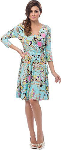 Turquoise Venetian Print Knee-Length Dress