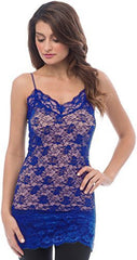 Sheer Extra Long Lace Cami w/ Adjustable Straps