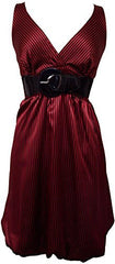 Pinstriped Satin Belted Bubble Dress Plus Size - PacificPlex - 21