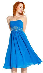 Knee Length Strapless Chiffon Goddess Gown - PacificPlex