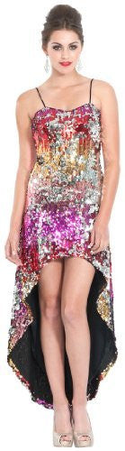 Sequin High-Low Red Carpet Prom Dress