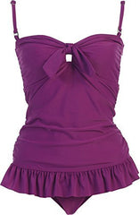 Solid Ruffle Tankini Swimsuit