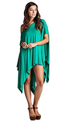 Loose Fit Short Sleeve Tunic with Asymmetrical Hemline - PacificPlex