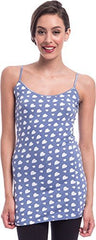 Hearts Print Extra Long Stretch Cotton Cami Top - PacificPlex