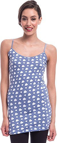 Hearts Print Extra Long Stretch Cotton Cami Top