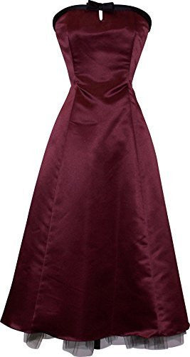 50s Strapless Satin Formal Bridesmaid Gown Holiday Prom Dress