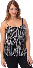 Sequin Zebra Camisole Holiday Tank Top - PacificPlex