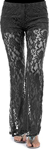 Sheer Lace Low-Rise Pants