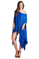 Loose Fit Poncho Tunic Dress with Asymmetrical Hem