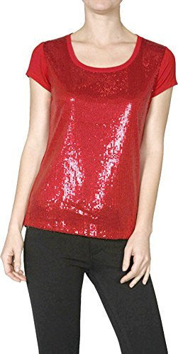 Sequin Short Sleeve Holiday Sparkle Shine Top