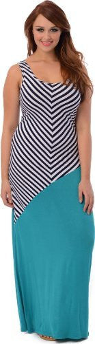 Diagonal Stripe Color Block Maxi Dress
