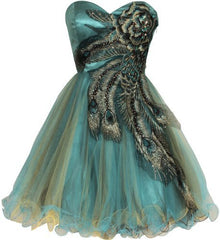 Metallic Peacock Embroidered Dress