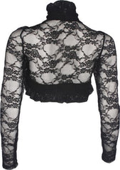 Sheer Floral Stretch Lace Bolero Cover-up Long Sleeve Junior Plus Size - PacificPlex