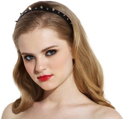 Silver Studded Spike Leatherette Headband