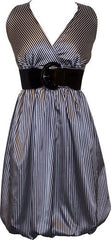Pinstriped Satin Belted Bubble Dress Plus Size - PacificPlex - 7