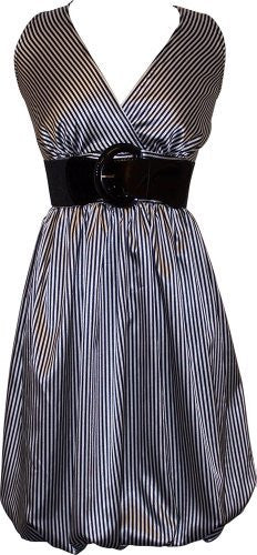 Pinstriped Satin Belted Bubble Dress