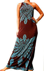 One Shoulder Tribal Print Maxi Dress Sundress Junior and Junior Plus Size - PacificPlex