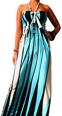 Graphic Stripe Maxi Tube Dress Halter or Strapless Sundress - PacificPlex