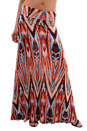 Tribal Print Boho Maxi Skirt
