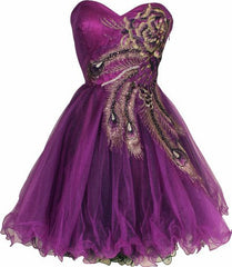 Metallic Peacock Embroidered Holiday Party Homecoming Prom Dress - PacificPlex