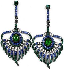 Peacock Feather Crystal Drop Earrings - PacificPlex