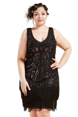 BABEYOND Women's Plus Size Flapper Dresses 1920s V Neck Beaded Fringed Great Gatsby Dress (Black with Colorful Sequins, 1X Plus) - PacificPlex