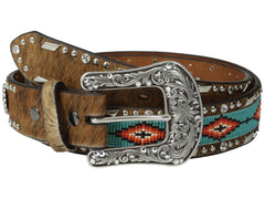 Ariat Women's Beaded Ribbon Inlay Belt Brown Large - PacificPlex