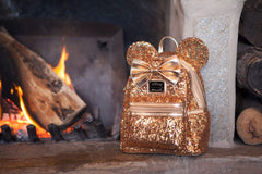 LOUNGEFLY X DISNEY Yellow Gold Sequin Minnie Mini Backpack Holiday Gifts for Her LIMITED EDITION - PacificPlex