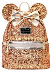 LOUNGEFLY X DISNEY Yellow Gold Sequin Minnie Mini Backpack Holiday Gifts for Her LIMITED EDITION