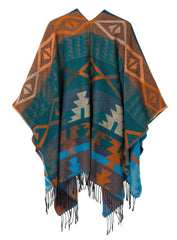 Urban CoCo Women's Printed Tassel Open front Poncho Cape Cardigan Wrap Shawl (Series 4-Blue)