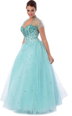 Jewelled Tulle Ball Gown Long Prom Dress w/ Bolero, M, Aqua-Teal - PacificPlex
