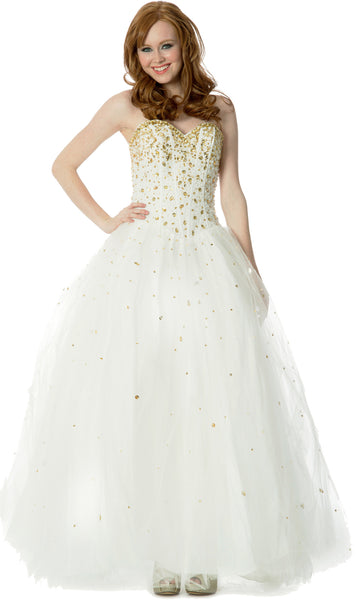 Jewelled Tulle Ball Gown Long Prom Dress w/Bolero, Ivory-Gold