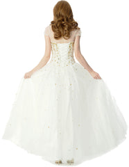 Jewelled Tulle Ball Gown Long Prom Dress w/Bolero, Ivory-Gold - PacificPlex