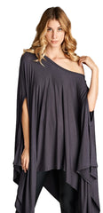 Loose Fit Poncho Tunic Dress with Asymmetrical Hem - PacificPlex