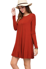 Solid Pocket Knit Long Sleeve Dress