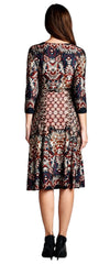 Knee-Length Faux Wrap Damask Print Dress 3/4 Sleeve - PacificPlex
