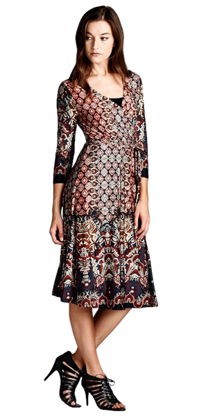 Knee-Length Faux Wrap Damask Print Dress 3/4 Sleeve