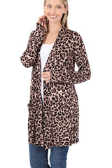 Leopard Animal Slouchy Pocket Open Cardigan Cover-Up