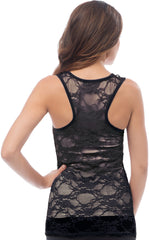 Sheer Nylon Lace Racerback Tank Top - More Colors - PacificPlex - 36