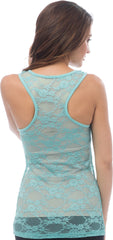 Sheer Nylon Lace Racerback Tank Top - PacificPlex - 38